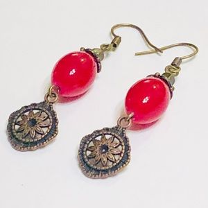 Cherry Red Droplet & Antiqued Copper Earrings